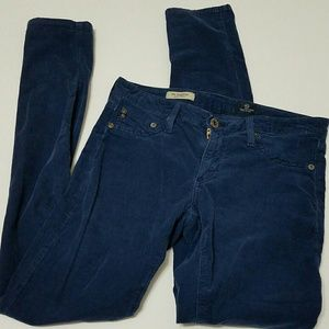 27 AG Blue Corduroy The Legging Super Skinny Pants